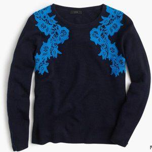 J. CREW Merino Wool Lace Applique Navy Crew Neck Pullover Sweater M